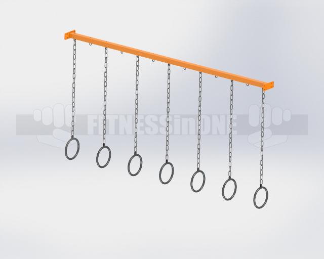 Fitnessinone OCR, tory przeszkód, belka podporowa kółka gimnastyczne – support beam – gym rings