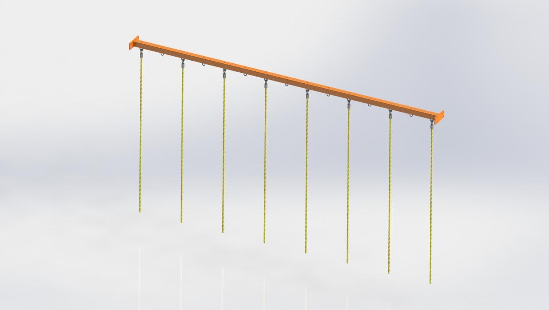 OCR liny FITNESSinONE belka podporowa wraz linami do wspinania, suppor beam with ropes (1)