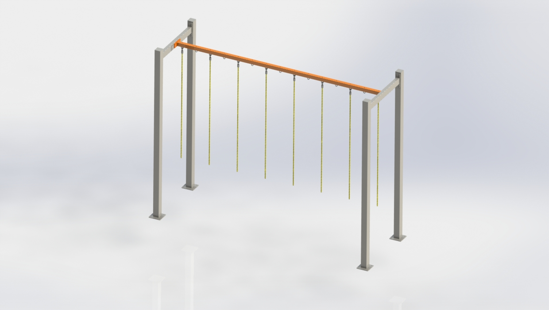 OCR liny FITNESSinONE belka podporowa wraz linami do wspinania, suppor beam with ropes