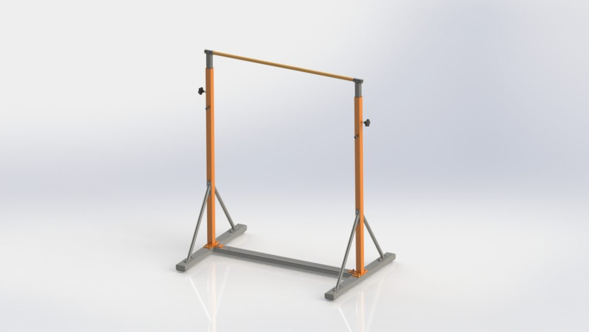 Drążek treningowy do podciągania wolnostojący z pełną regulacją wysokości. Konstrukcja ocynkowana i malowana proszkowo. Uchwyt wykonany z drewna bądź metalu.