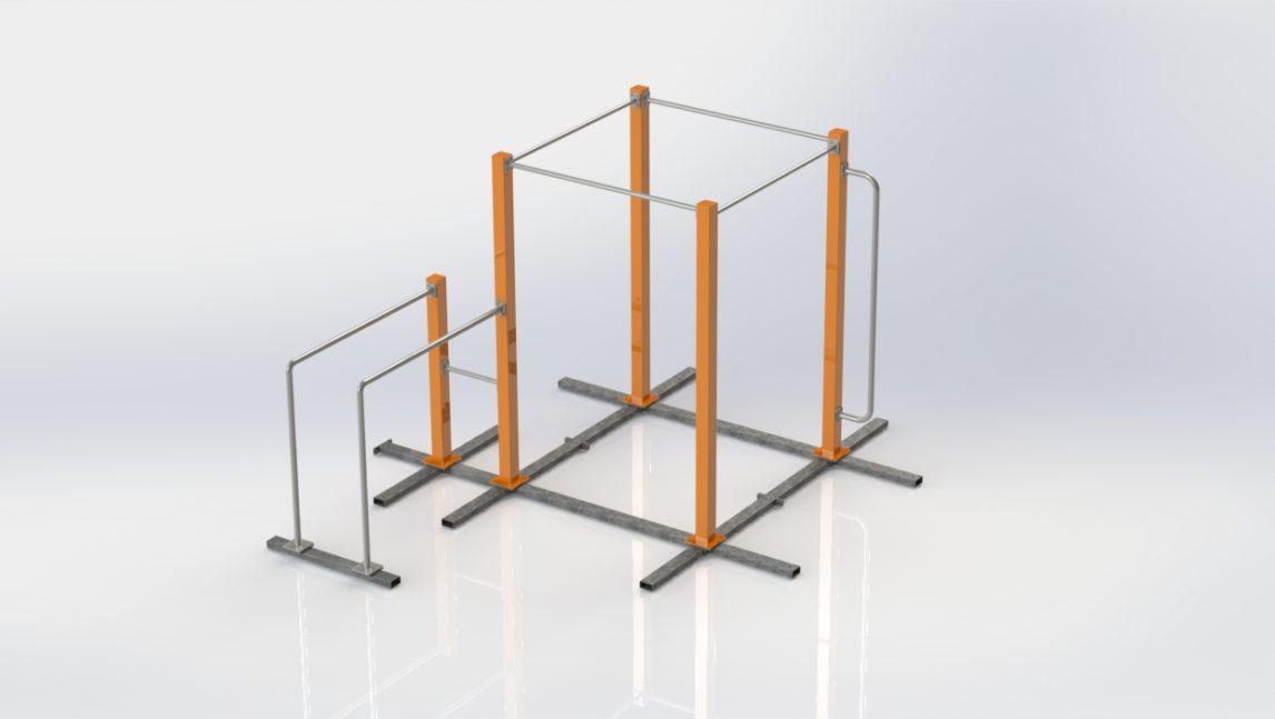Przenośny, mobilny zestaw Street Workout SWPP1 w wersji podstawowej. Mobilny park w zestawie z 4 drążkami i poręczami równoległymi.