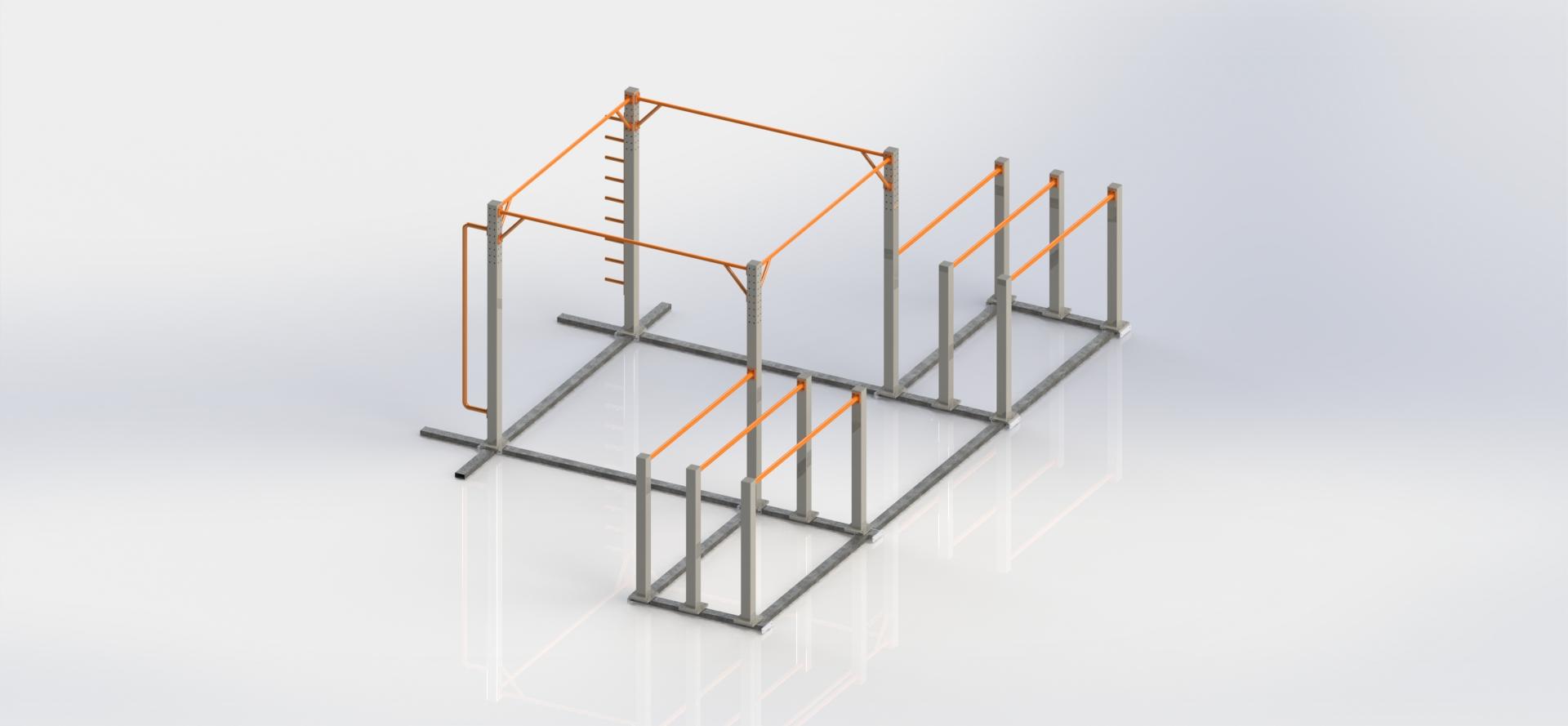 Przenośna, mobilna konstrukcja Street Workout SWPP2 przeznaczona pod wynajem. Konstrukcja składa się z 4 długich drążków przydatnych w kategorii Freestyle. Dodatkowo 3 pary poręczy równoległych z różnym rozstawem. Uzupełnienie to drążek do ludzkiej flagi oraz półdrabinka pionowa.