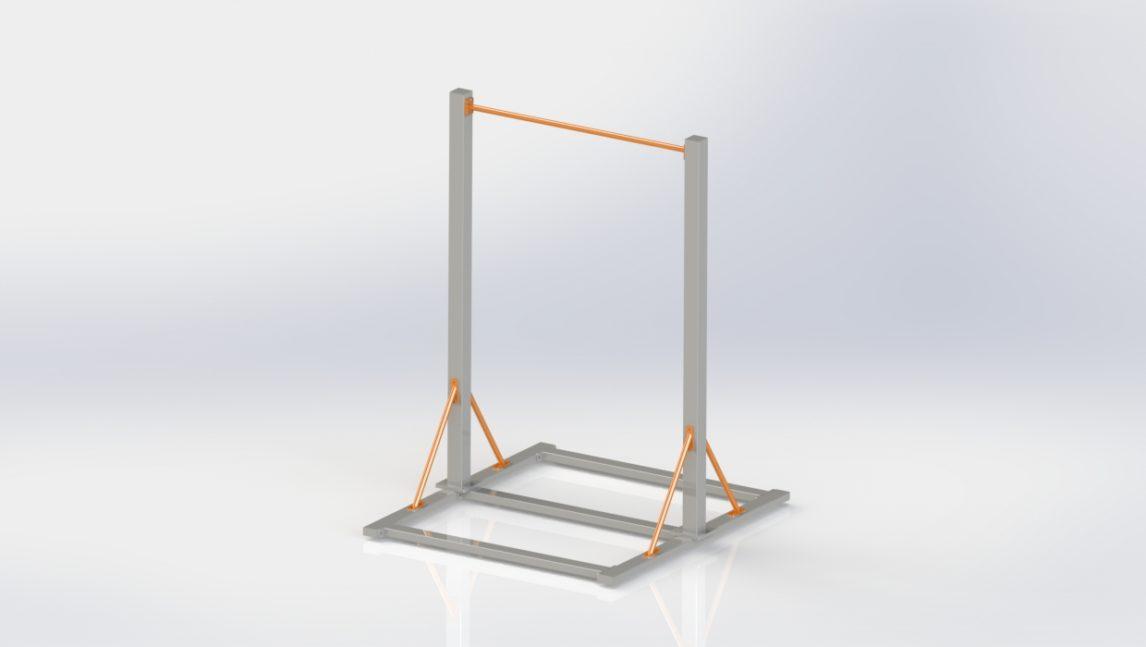 Drążek do podciągania wolnostostojący, w pełni rozkładany. Do wyboru w wersji z drążkiem metalowym bądź drewnianym.